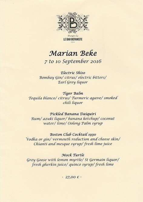 Carte éphémère de Marian Beke au Shangri-La Paris