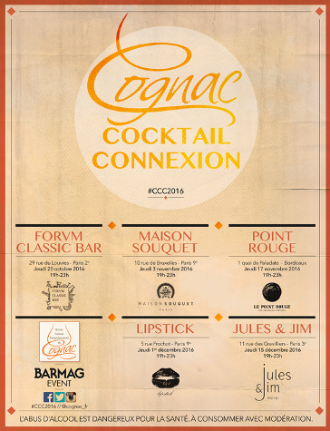 Cognac Cocktail Connexion 2016 à Paris et Bordeaux