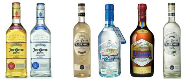 La tequila José Cuervo Especial Gold et Silver est distribuée en France par BLMHD. Tradicional Silver, Reserva de la Familia Extra Anero et Platino en distribution chez CBH.