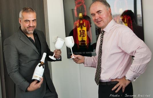 Laurent Le Pape et Laurent Morel, PDG de Moët Hennessy Diageo et le nouveau Moët & Chandon  Ice Impérial                                                                                           L'abus d'alcool est dangereux pour la santé. A consommer