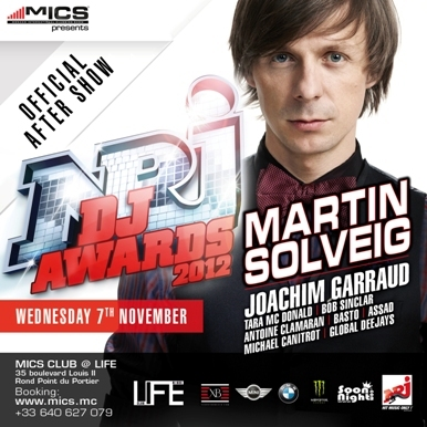 MERCREDI 7 NOVEMBRE 2012 : soirée NRJ DJ Awards - Martin Solveig