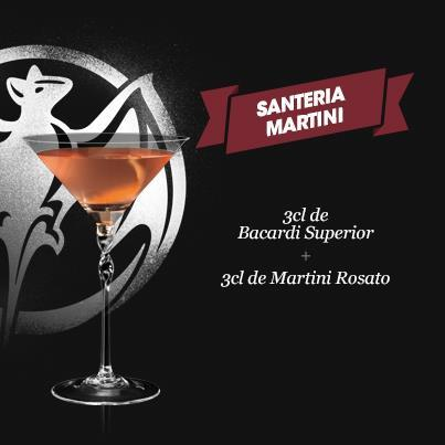 "Recette cocktail ""Santeria Martini"" // © Page Fan Facebook Bacardi France"
