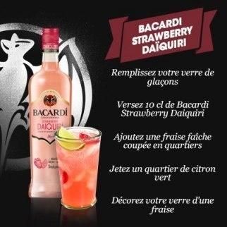 "Recette Cocktail ""Bacardi Strawberry Daïquiri"" // © Page Fan Facebook France"