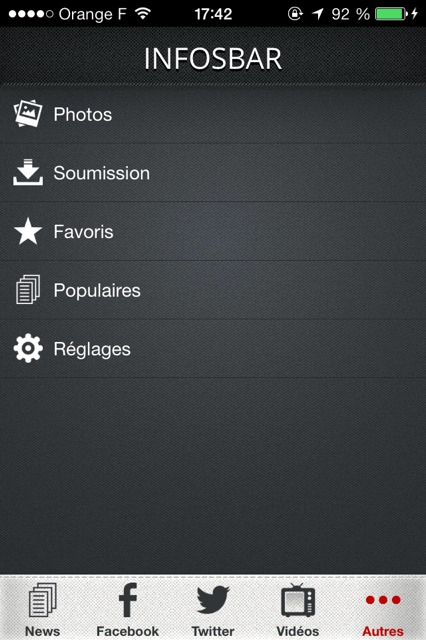 Appli Infosbar, autres sections