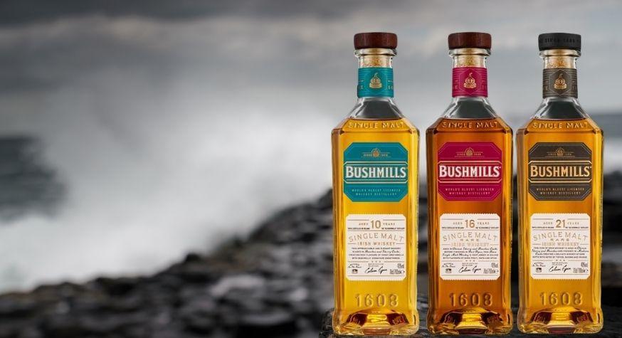 Irish whiskey Bushmills - Nouvelle bouteille premium pour la gamme Single Malt 10, 16 et 21 ans d'âge