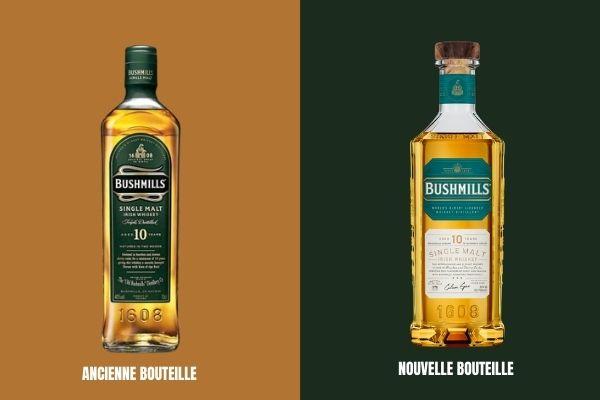 Relooking premium pour la nouvelle bouteille Bushmills Single Malt (à droite)