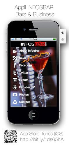 Téléchargez gratuitement l'appli Infosbar disponible sur IOS et Android