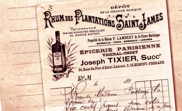 Connaissement SAINT JAMES, cachet de cire avec logo historique SAINT JAMES & logo Société SAINT JAMES