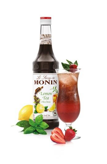 Cocktail Monin sans alcool Thé fraise- basilic © DR