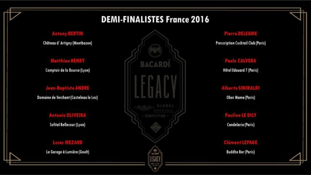 BACARDI Legacy Cocktail Competition 2016 : les 10 demi-finalistes France