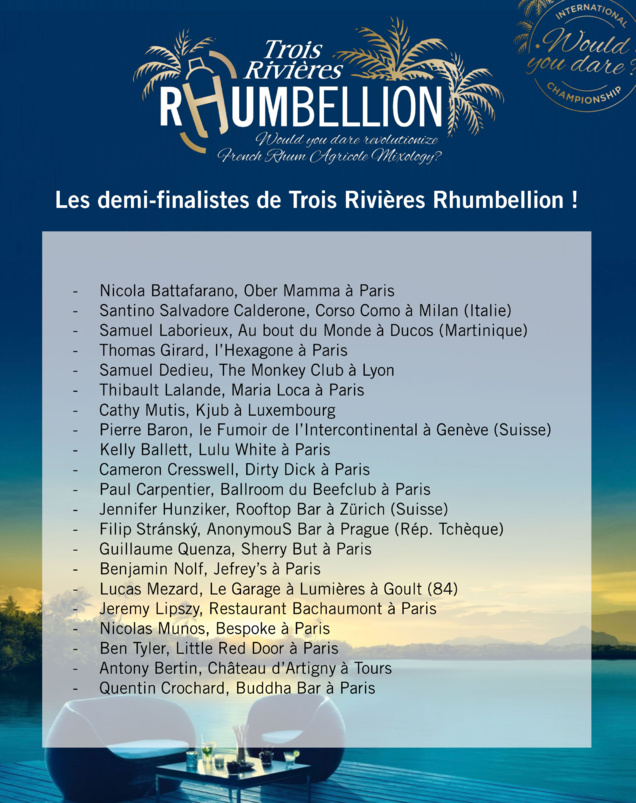 Concours Rhumbellion - Trois Rivières : Les Demi-finalistes