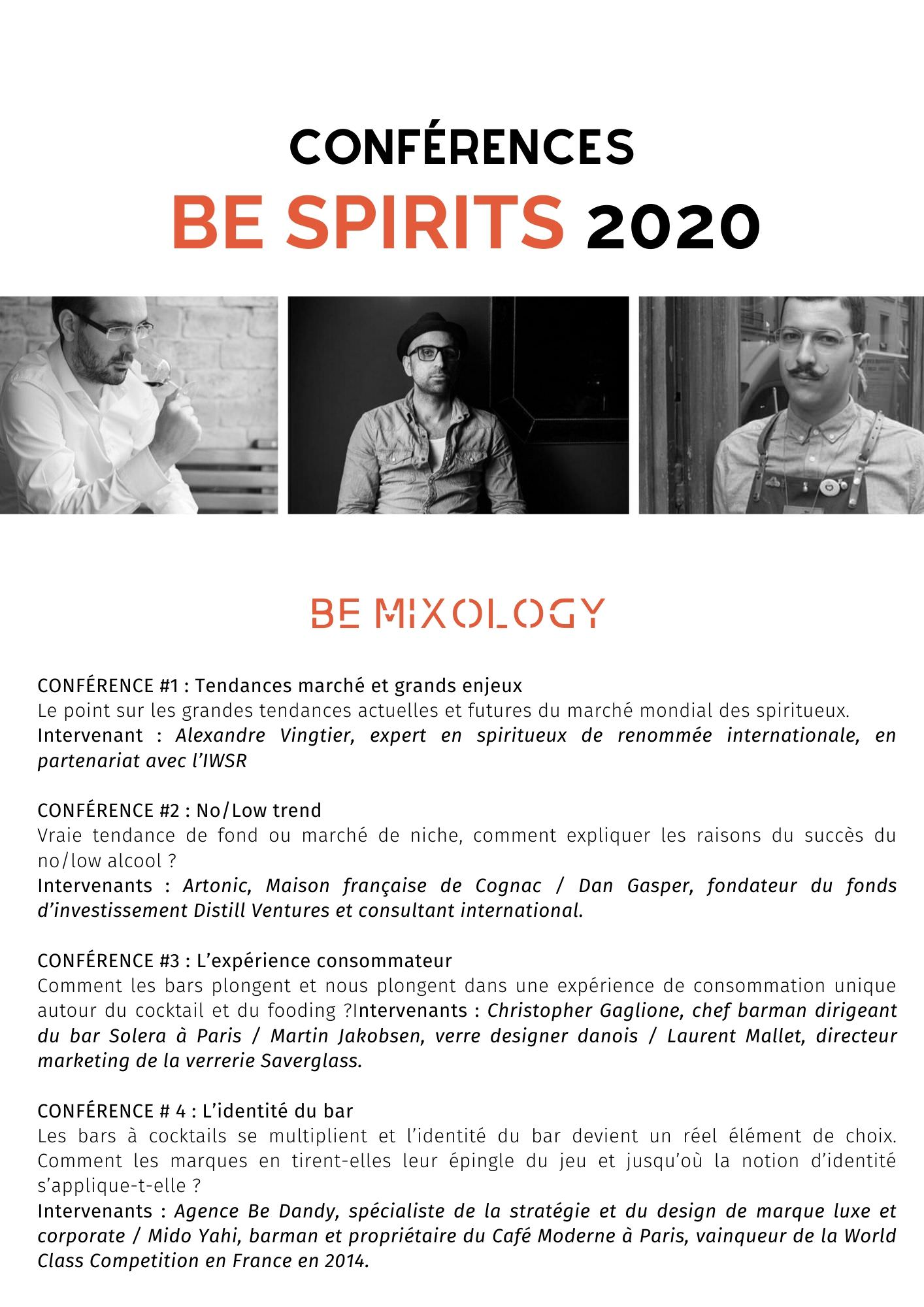 Les conférences du salon Be Spirits by Vinexpo Paris 2020