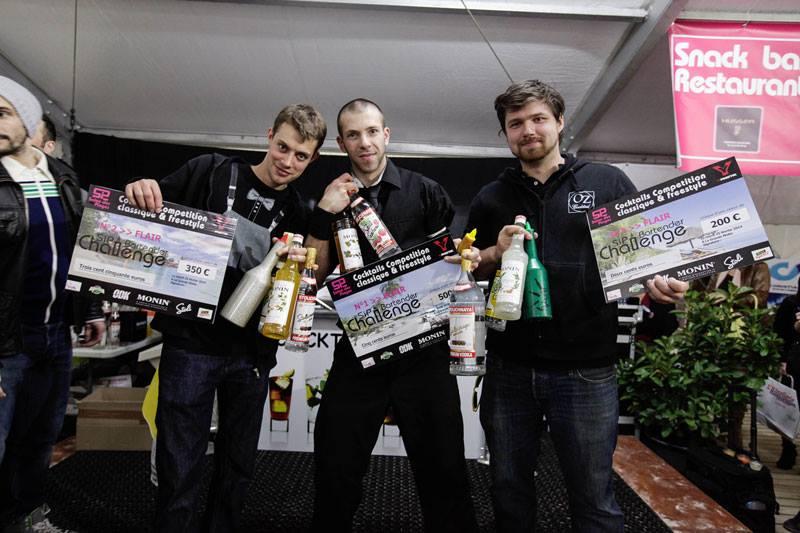 "Les trois lauréats ""Flair Round"" – Sip Bartender Challenge 2014 © Page Facebook Sip Bartender Challenge"