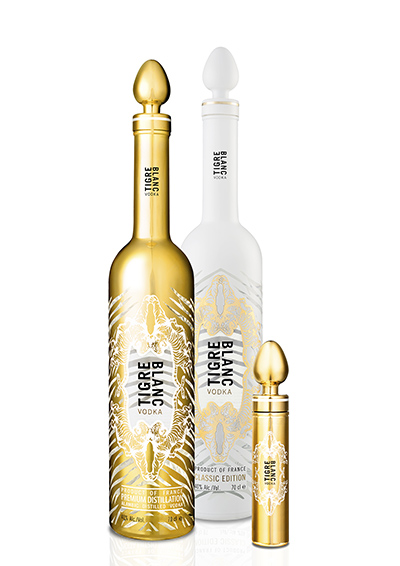 Tigre Blanc Vodka Premium Edition en 70 cl et 5 cl, Tigre Blanc Vodka Classic Edition en 70 cl