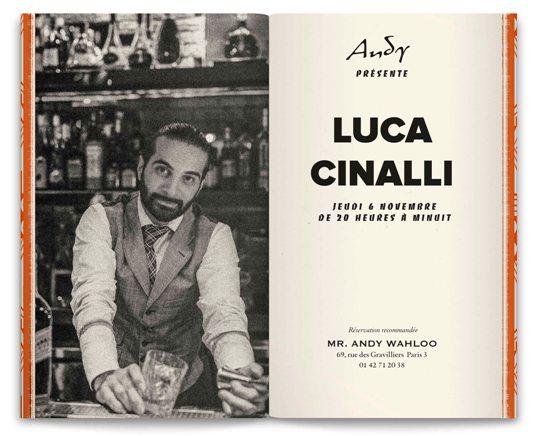 Luca Cinalli : guest bartender du Andy Wahloo à Paris