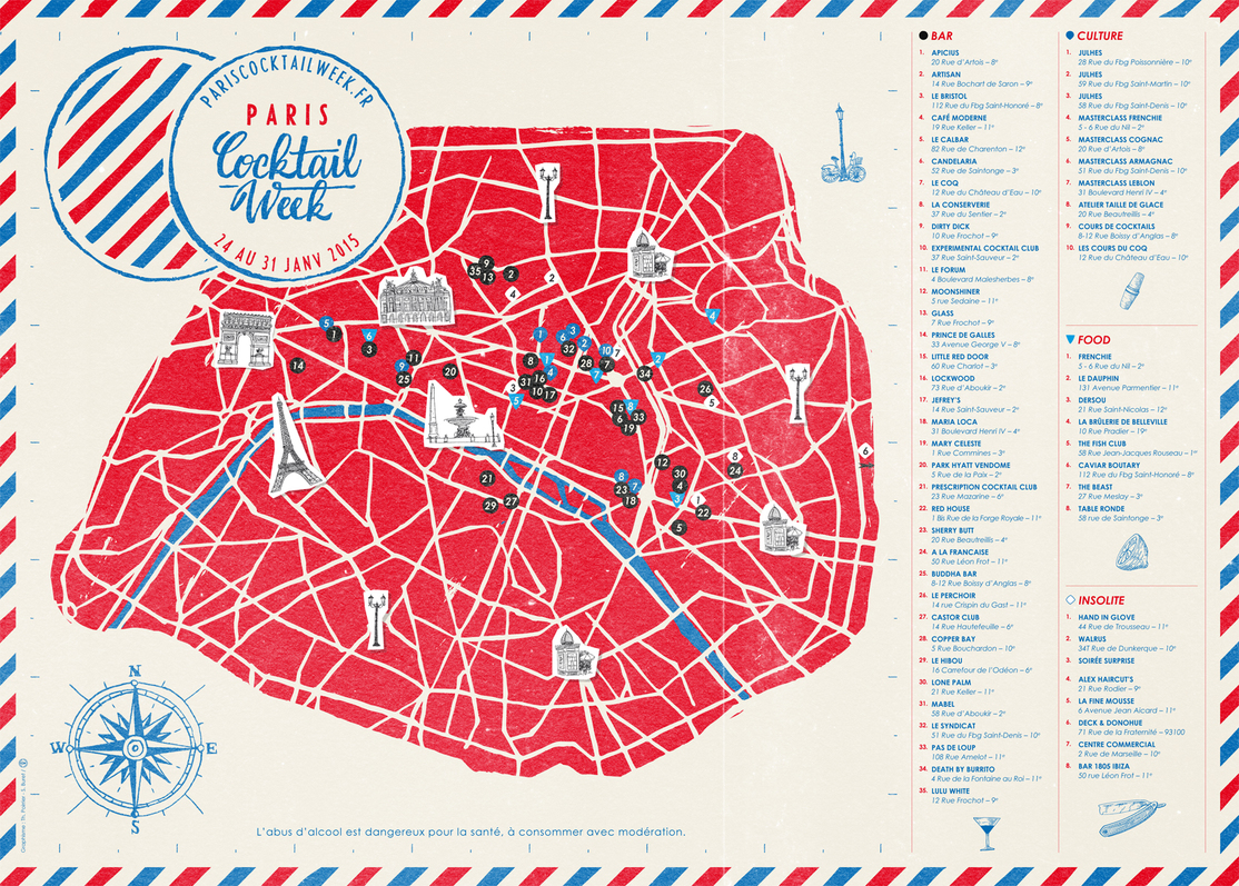 Les établissements partenaires de la Paris Cocktail Week