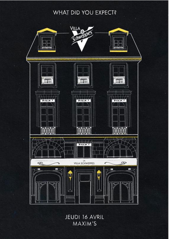 La Villa Schweppes le 16 avril chez Maxim's Paris