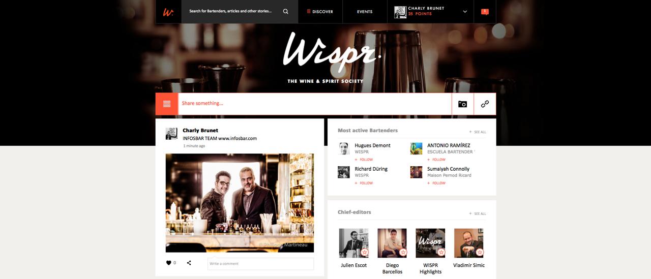 Découvrez WISPR by Pernod Ricard, la plateforme internationale des bartenders professionnels.