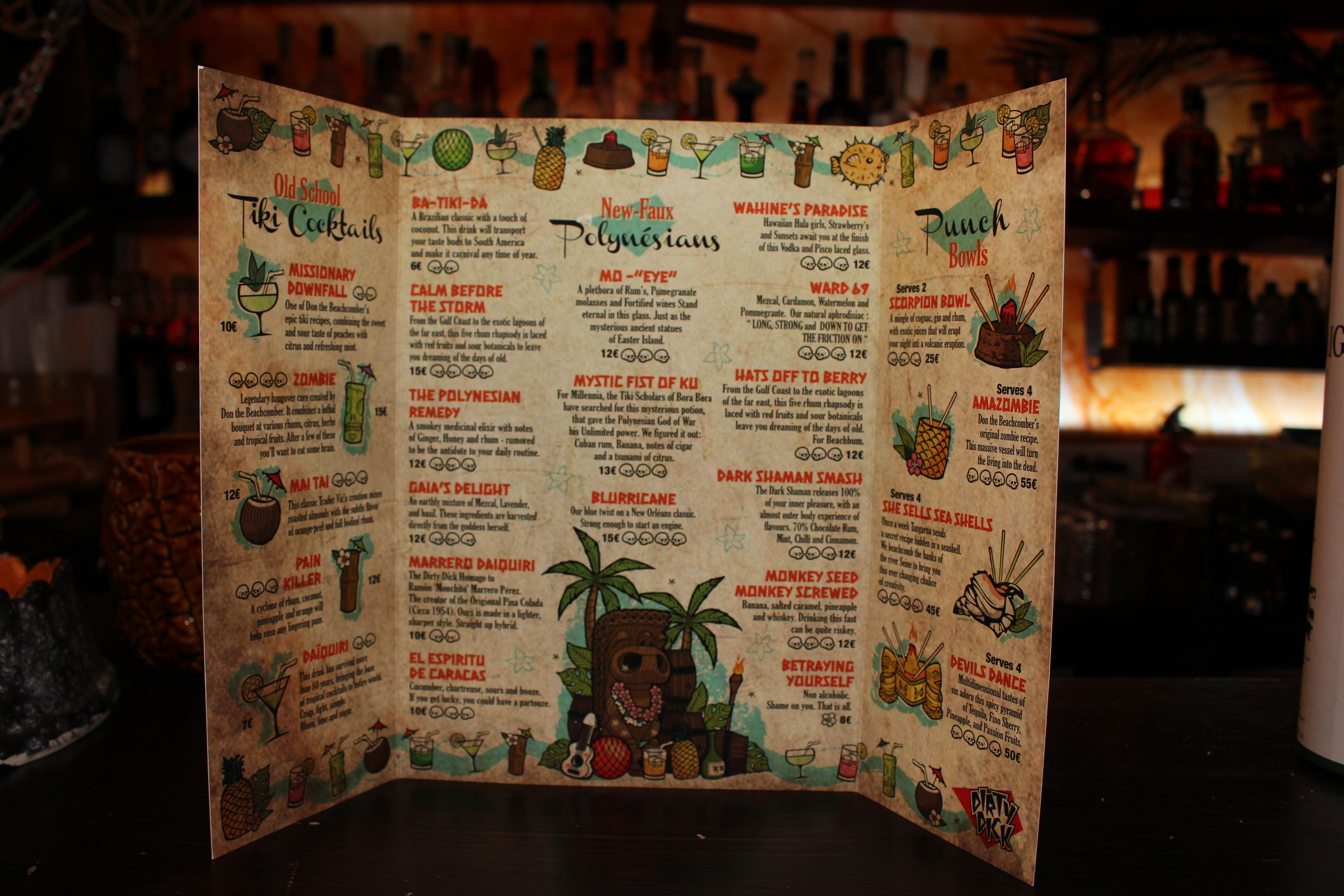 La nouvelle carte des cocktails