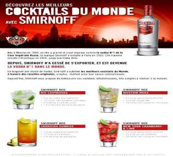 Smirnoff en mode meilleurs cocktails du monde