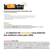 La Mixletter de janvier 2009 (infos musique) en téléchargement gratuit sur Infosbar.